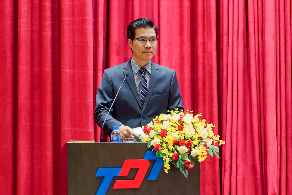Dr. Tran Trong Dao, TDTU Vice president delivering his speech to welcome delegates to the Conference